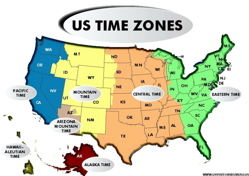 U.S. Time Zone Map at USVistorBureau.US